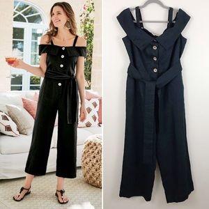 NEW Soft Surroundings Raissa Linen Crop Jumpsuit